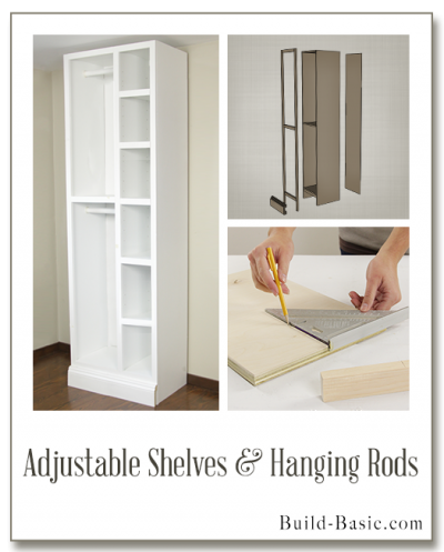 The Build Basic Custom Closet System - Adjustable Shelves and Hanging Rods- Display Frame