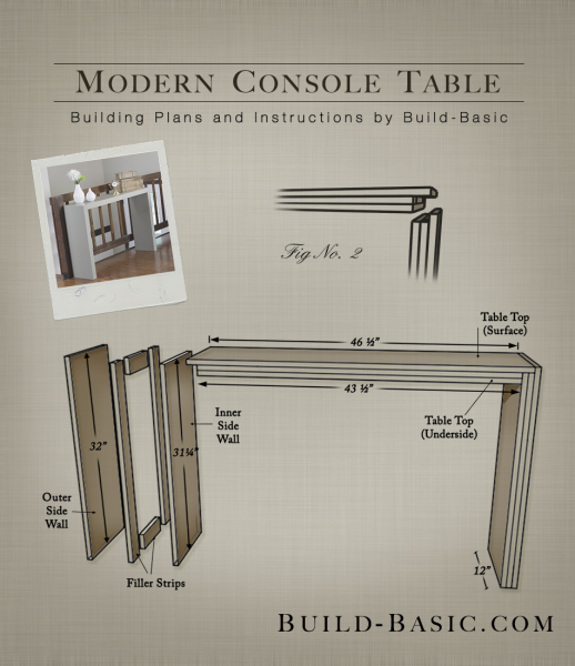Build A Modern Console Table Building Plans By Buildbasic Www Basic