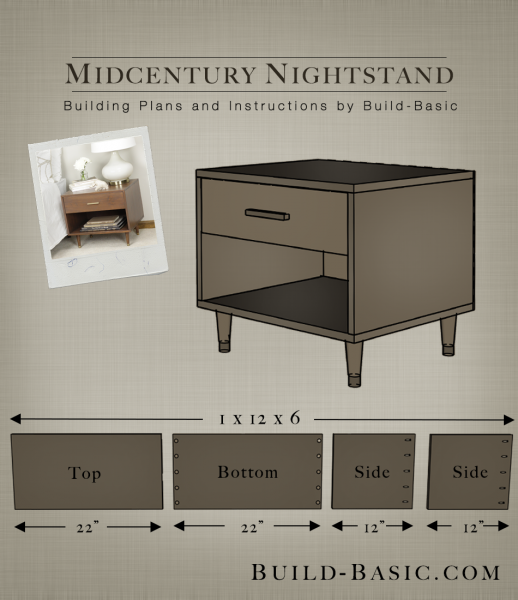 build a midcentury nightstand build basic