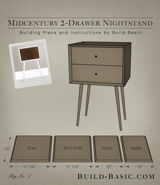 Build a DIY Midcentury 2 Drawer Nightstand - Building Plans by @BuildBasic www.build-basic.com