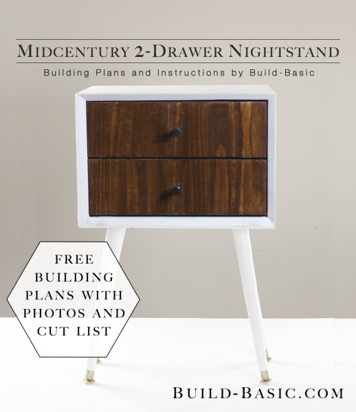 Build a DIY Midcentury 2 Drawer Nightstand - Building Plans by ...