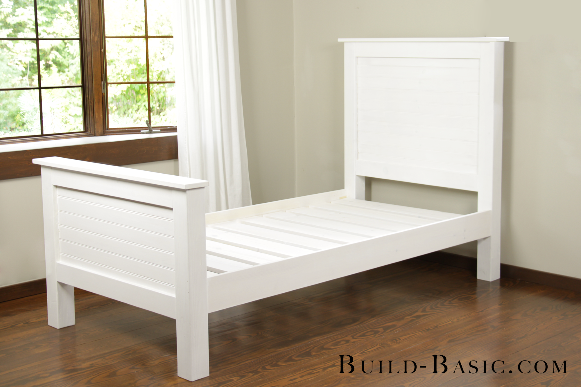 Build a DIY Beadboard Twin Bed by Build Basic - Finish Shot