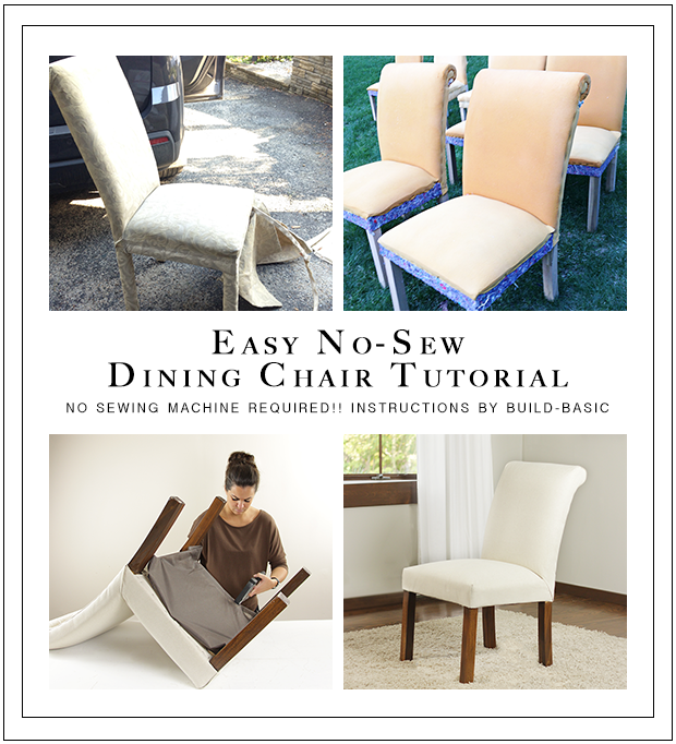 Sew Dining Room Chair Covers dining chair transformation (without a sewing machine) ‹ build basic