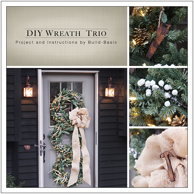 DIY Holiday Wreath Trio by Build Basic - www.build-basic.com