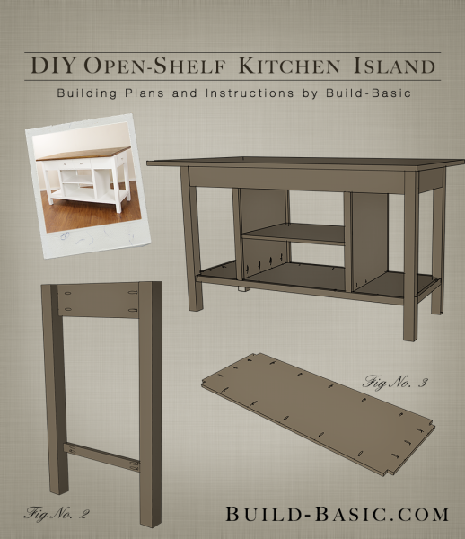 Build A DIY Open Shelf Kitchen Island Building Plans By Basic BuildBasic