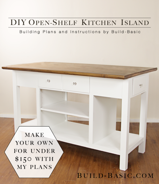 plans for kitchen islands build a diy open shelf kitchen island build basic 4261