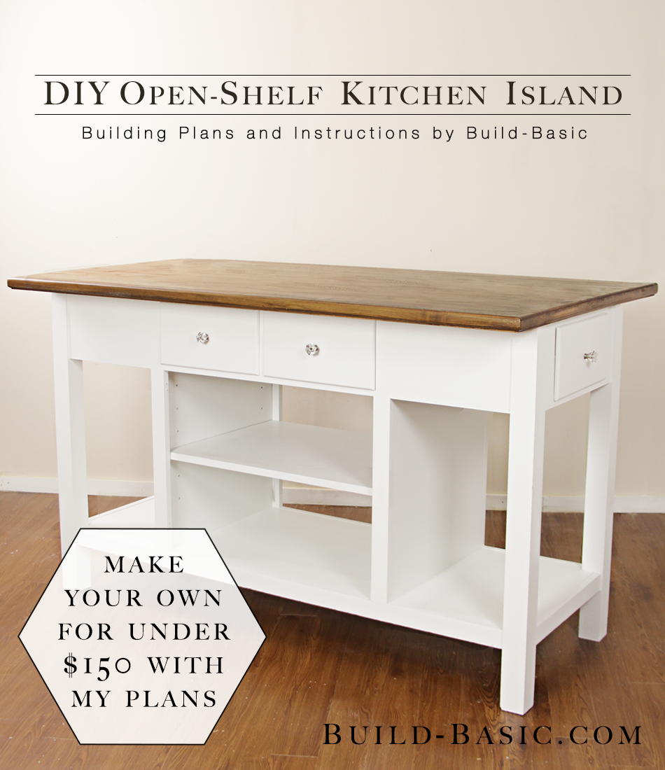 Build a diy open shelf kitchen island build basic for Kitchen island cabinet plans