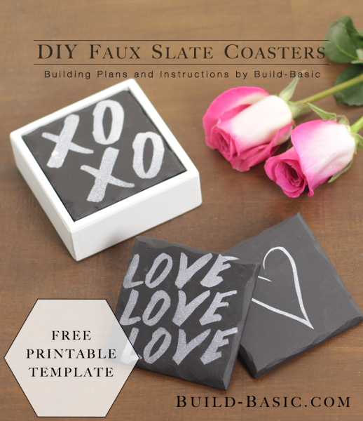 Make DIY Faux Slate Coasters - Project Plans by @BuildBasic www.build-basic.com