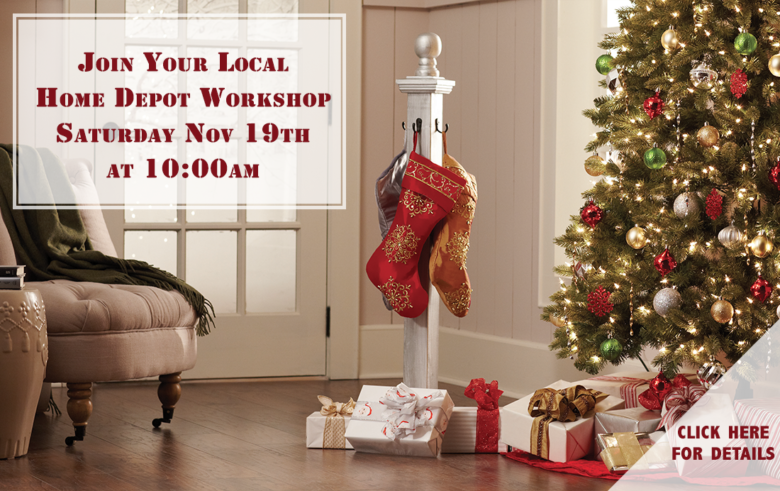 Home Depot DIy Workshop - DIY Holiday Stocking Post